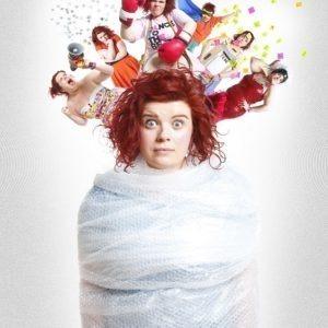 Woman in bubble wrap
