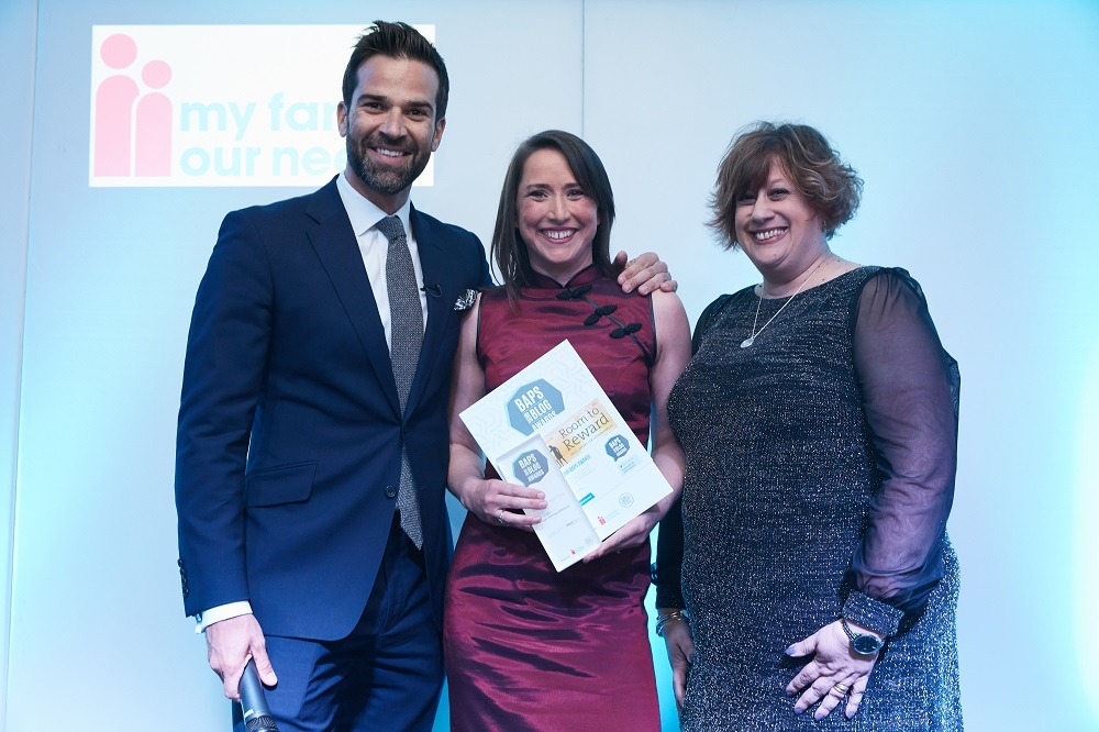 Rachel Wright, Born at the Right Time on stage with Gethin Jones and Sarah Maguire of Choice Support