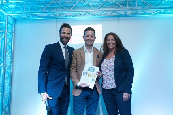 James Hunt, Stories About Autism collects his award for Most Supportive SEND Blogger from Gethin Jones and Potens CEO