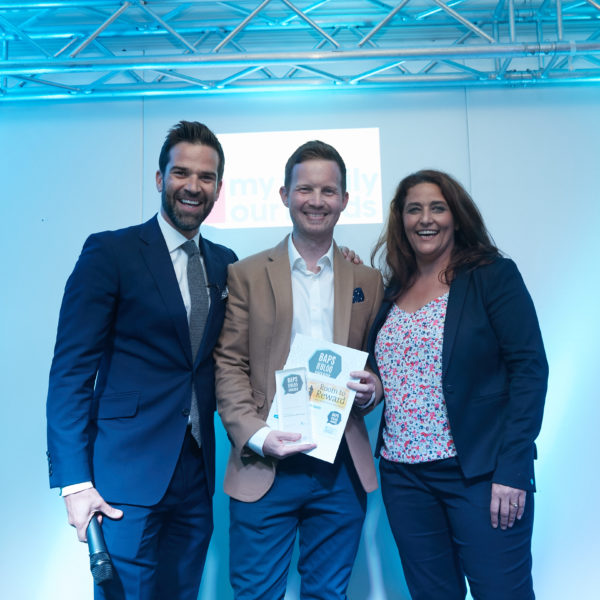 James, BAPS winner 2018 - Stories about Autism, with Gethin and his award
