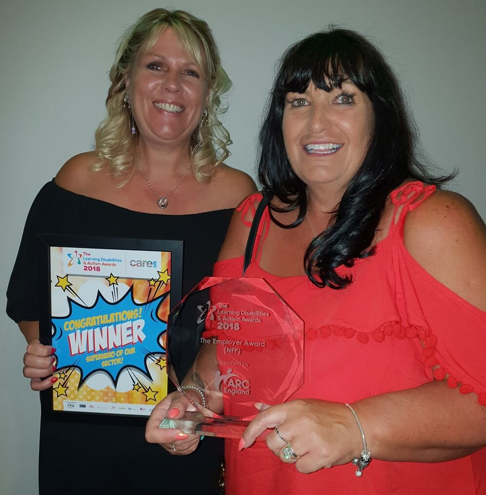 Sarah Smith and Nadine Suitor of Walsingham support win award for best employer in the learning disability awards