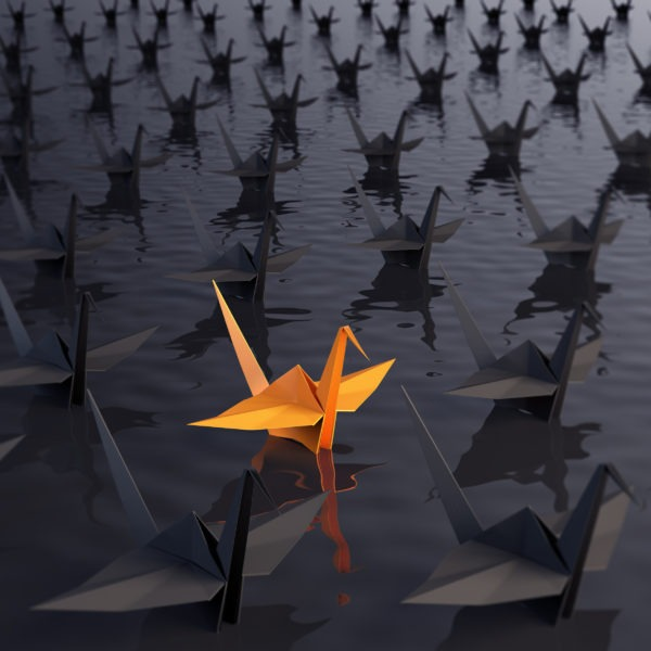 orange coloured origami swan stands out from the other black ones